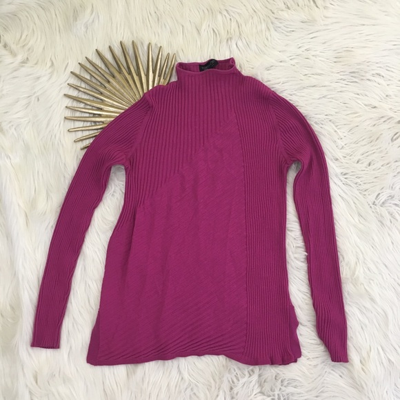 Topshop Womens Fuchsia Pink Mock Neck Knit Top. M 5b3a255b5c4452df9cf35385 79cc51a15